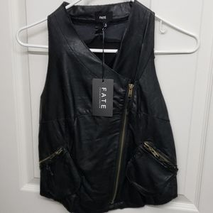 NWT Fate Black Faux Leather Vest Small